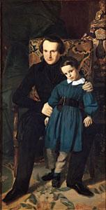 Auguste de Chatillon Victor Hugo with his son Francois Victor oil painting picture