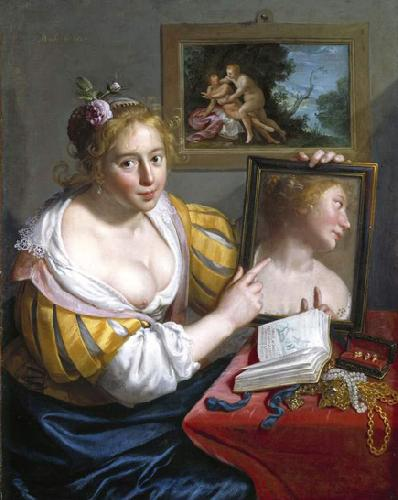 Paulus Moreelse Girl with a Mirror, an Allegory of Profane Love oil painting picture
