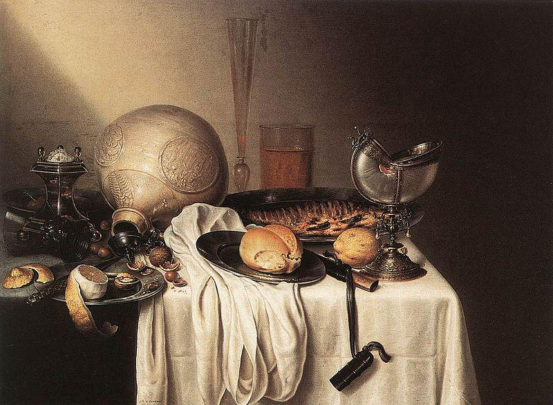 BOELEMA DE STOMME, Maerten Still-Life with a Bearded Man Crock and a Nautilus Shell Cup oil painting image