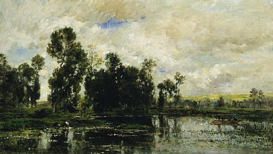 Charles Francois Daubigny The Edge of the Pond oil painting image