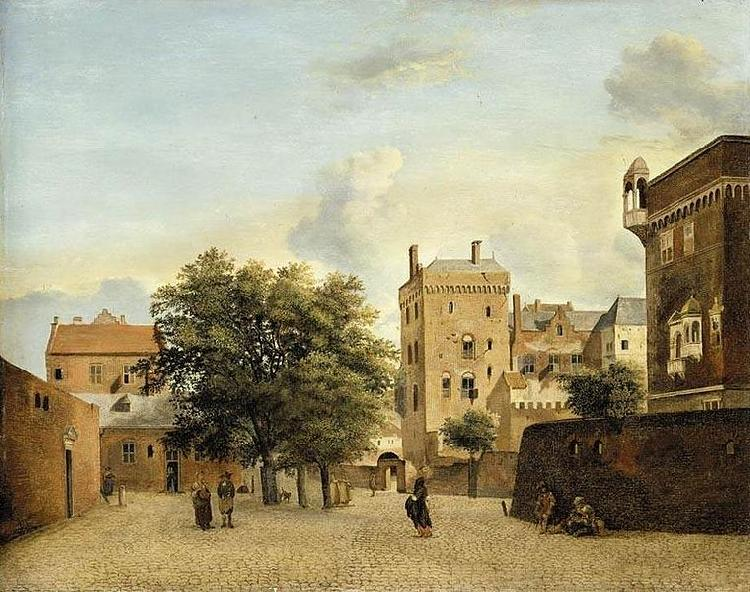 Jan van der Heyden View of a Small Town Square oil painting image