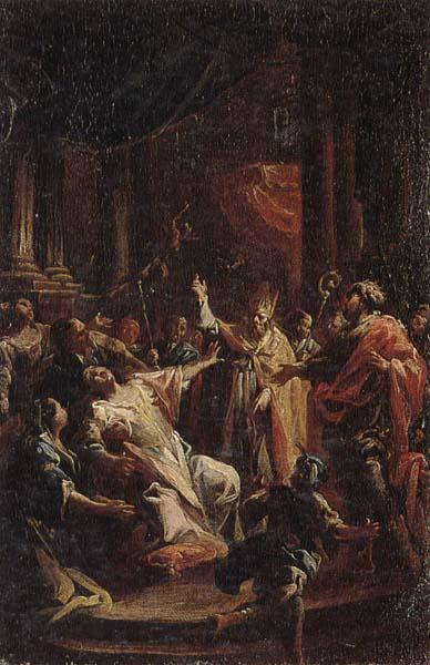 Francesco Monti Saint geminianus exorcising devils from the daughter of the emperor of constantinople oil painting image