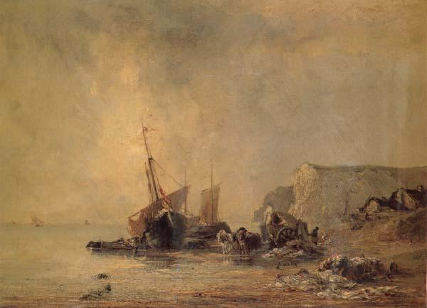 Richard Parkes Bonington Boats on the Shore of Normandy oil painting picture