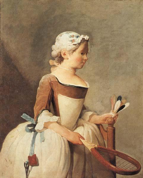 jean-Baptiste-Simeon Chardin Young Girl with a Shuttlecock oil painting image