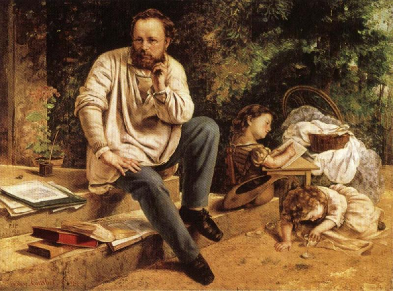 Gustave Courbet Pierre-joseph Prud'hon and His Children oil painting picture