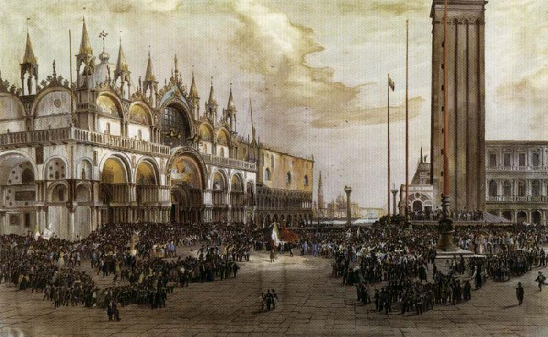 Luigi Querena The People of Venice Raise the Tricolor in Saint Mark's Square oil painting image
