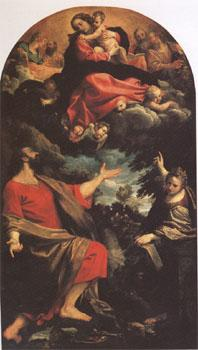 Annibale Carracci The VIrgin Appearing to ST Luke and ST Catherine (mk05) oil painting image