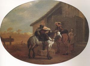 Bamboccio Travelers Leaving an Inn (mk05) oil painting image