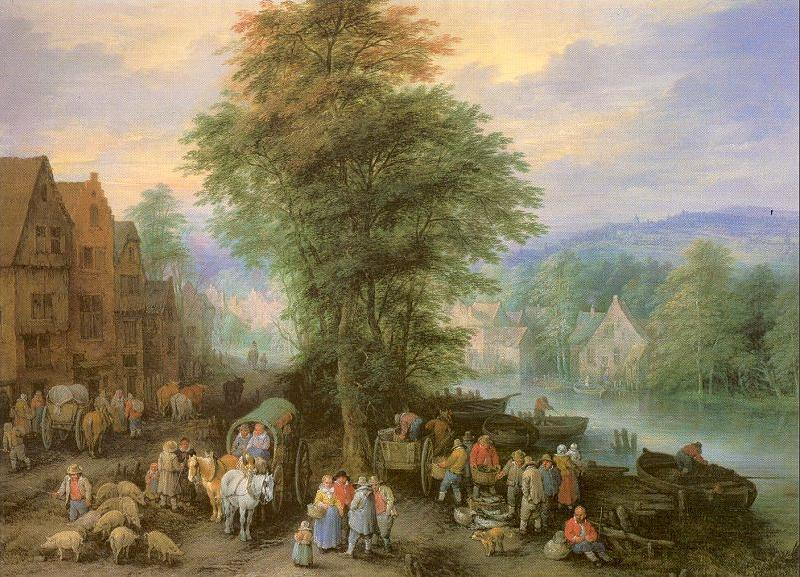 Michau, Theobald Peasants at the Market oil painting image