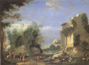 Napoletano, Filippo Landscape with Ruins and Figures (mk05) oil painting image