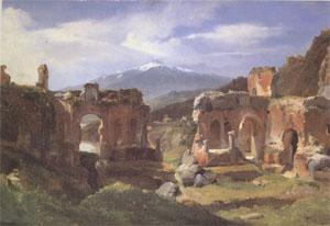 Achille-Etna Michallon Ruins of the Theater at Taormina (Sicily) (mk05) oil painting image