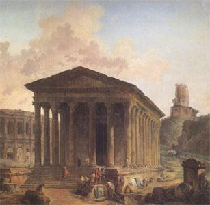 ROBERT, Hubert The Maison Carre at Nimes with the Amphitheater and the Magne Tower (mk05) oil painting image