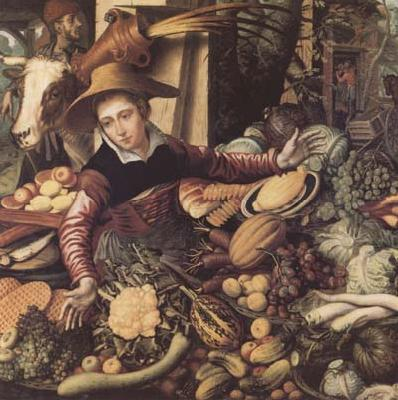 Pieter Aertsen Market Woman with Vegetable Stall (mk14) oil painting image