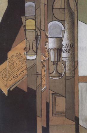 Juan Gris Glasses Newspaper and a Bottle of Wine (nn03) oil painting image