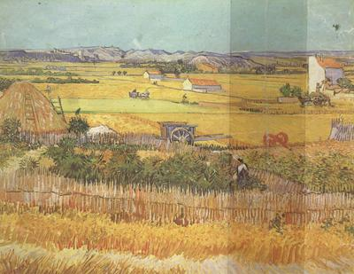 Vincent Van Gogh Havest at La Crau,wtih Mountmajour in the Background (nn04) oil painting image