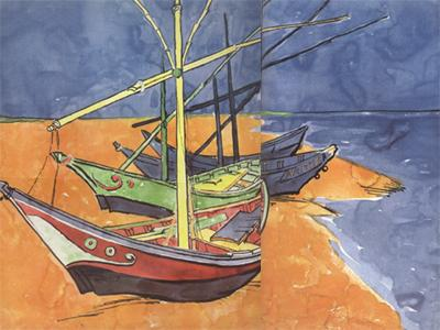 Vincent Van Gogh Boats on the Beach of Saintes-Maries (nn04) oil painting image